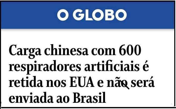 Publicación del diario brasileño O Globo sobre el cargamento retenido en el aeropuerto de Miami.