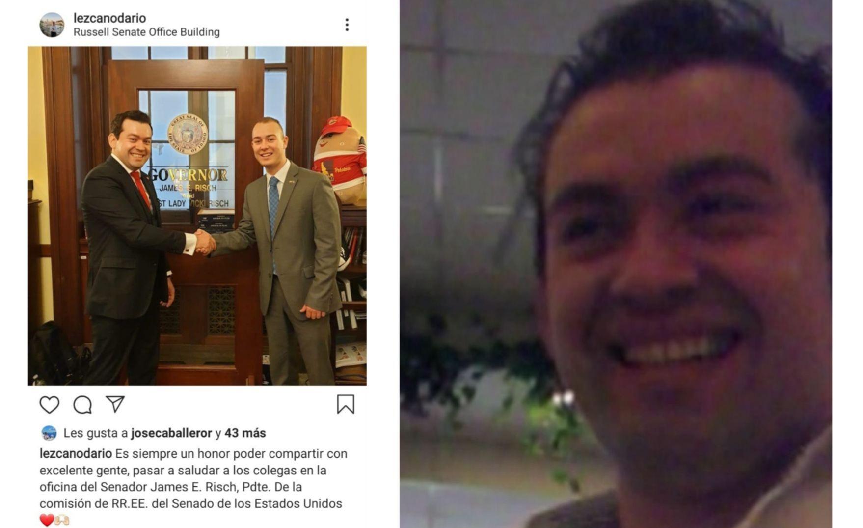 Dos momentos de Darío Lezcano: haciendo contactos en los Estados Unidos y sonriente en una cámara oculta en plena negociación de un apriete.