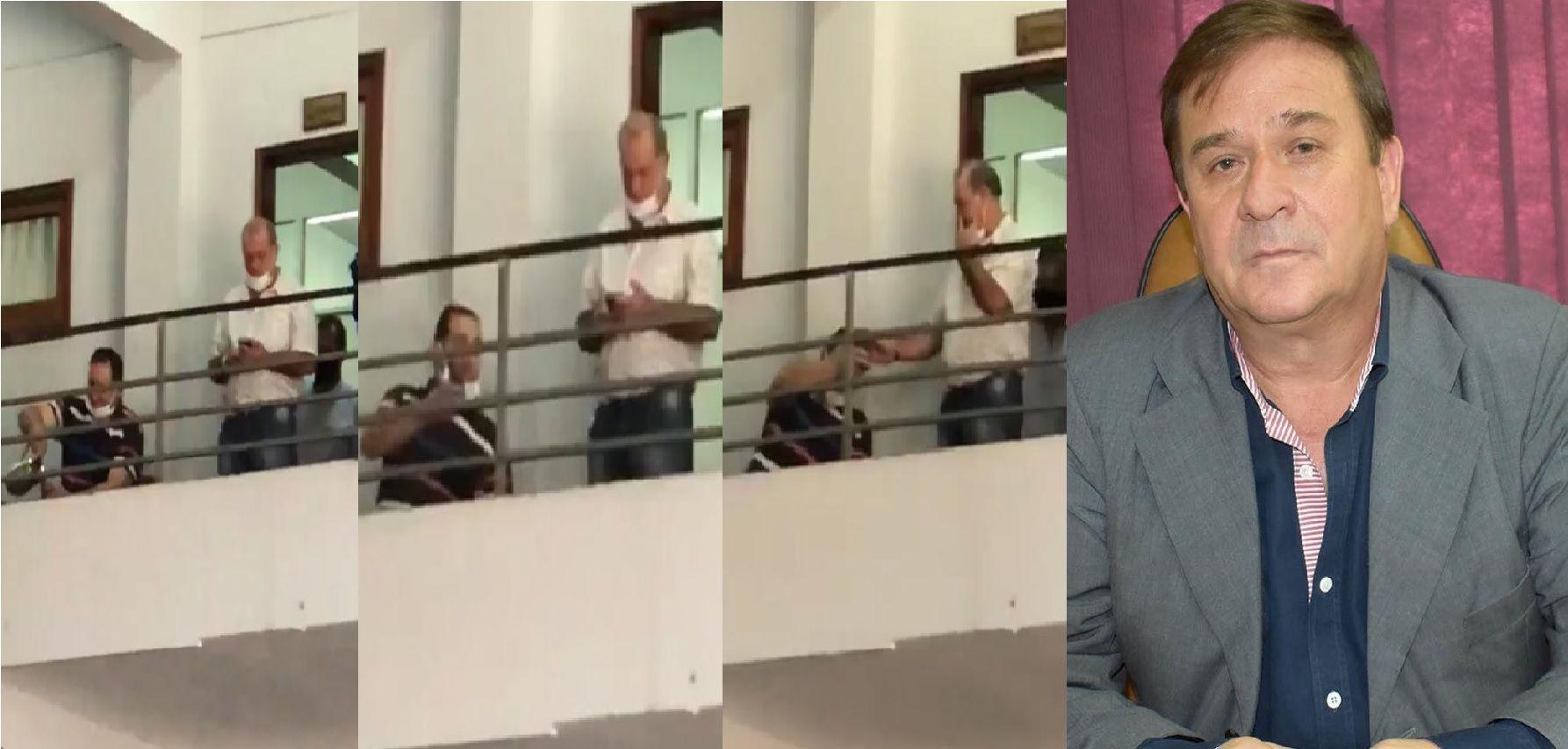 El intendente de Lambaré Guido González abrió la municipalidad después del caso positivo por coronavirus y la ronda de tereré frente a su despacho.