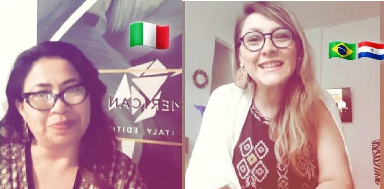 Lorena Marín (derecha), desde San Pablo, en una conferencia virtual con Milán sobre la moda latinoamericana.