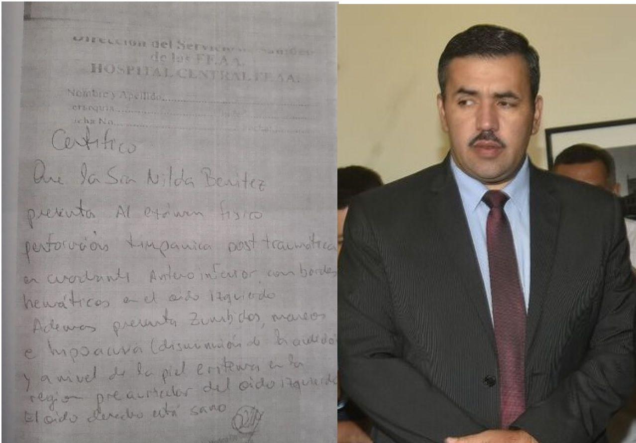 El parte médico que indica la perdida de audición de Nilda Benítez. Marcos Estigarribia denunciará al fiscal Merlo.