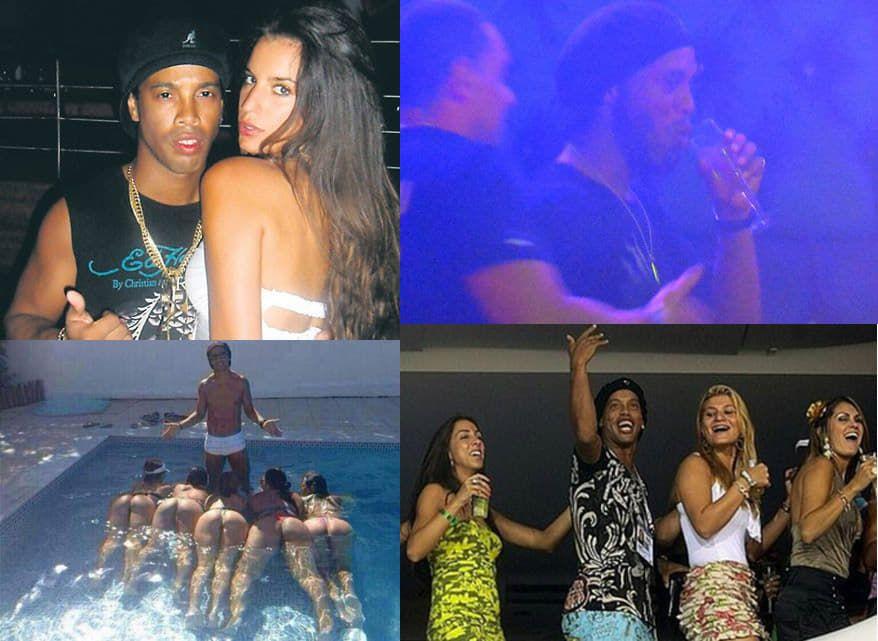 Ronaldinho en sus conocidas fiestas antes de caer preso. Ahora lo hace en su encierro en Palmaróga.