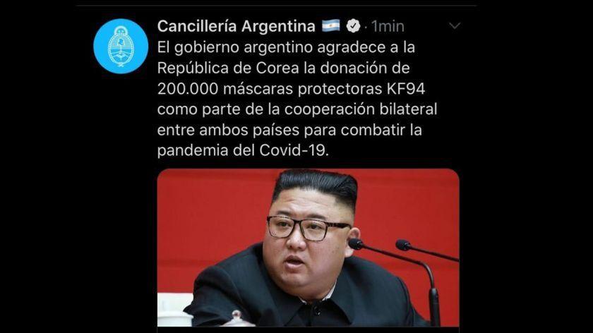 El tweet sobre Corea del Sur con una imagen de Kim Jong-un, líder de Corea del Norte