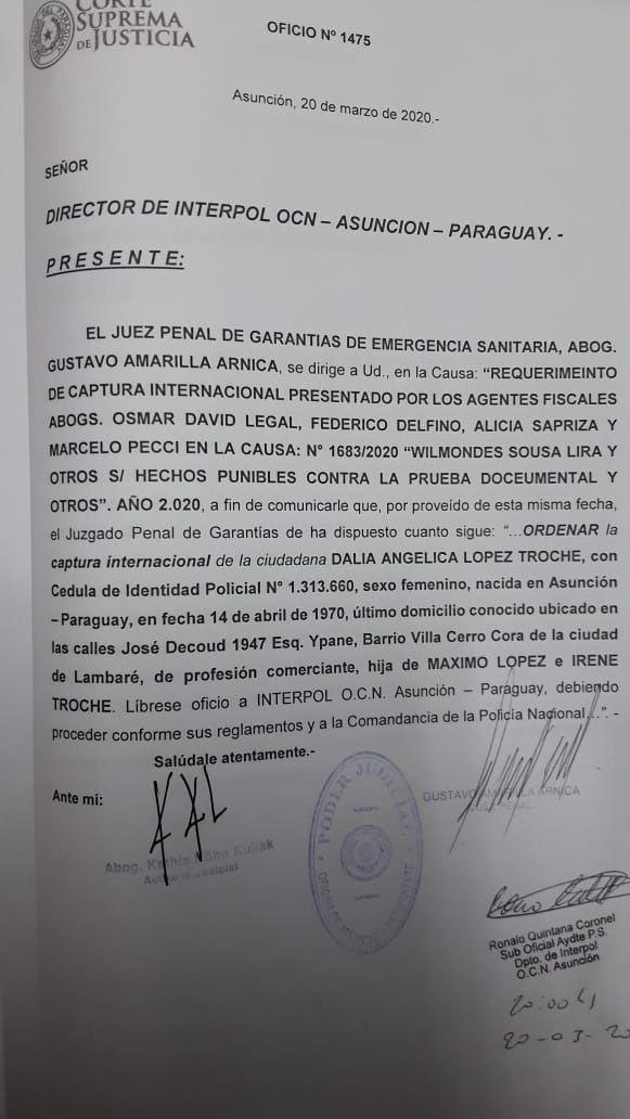 El pedido de orden de captura internacional de Dalia López, que sigue con paradero desconocido.