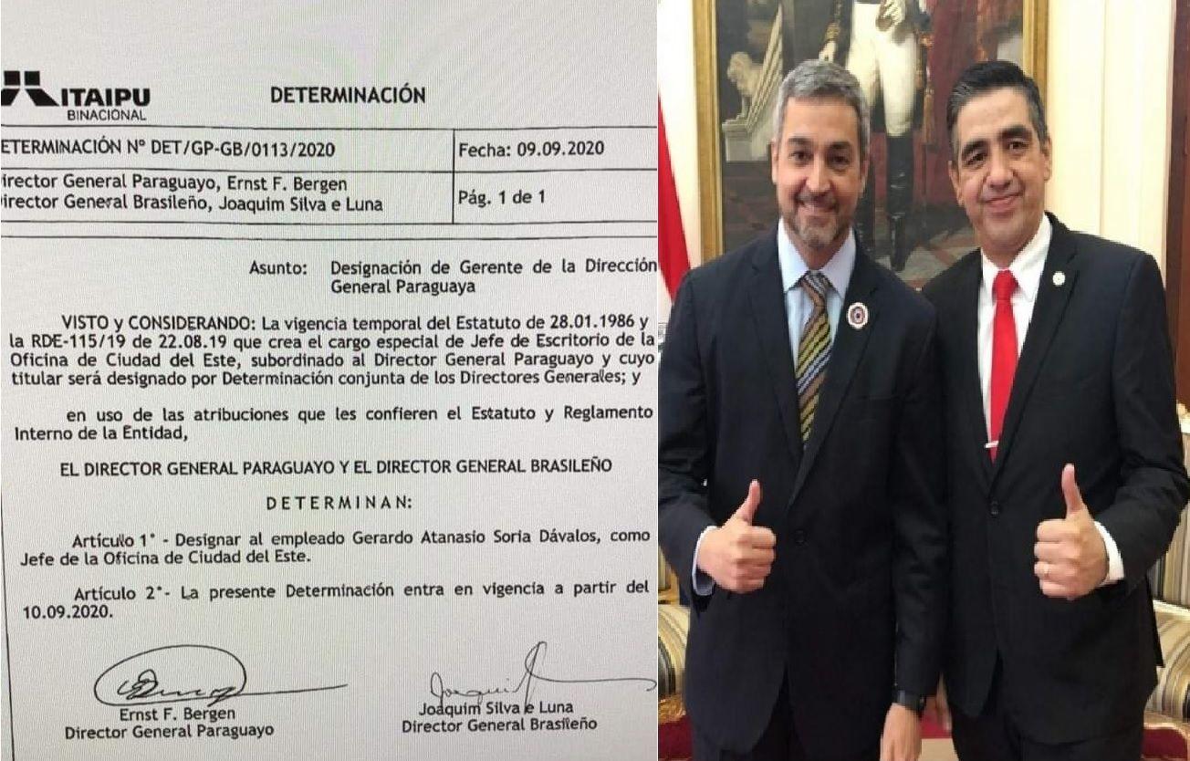 El puesto de Jefe de escritorio en Itaipú se lo ganó el seccionalero Gerardo Soria.