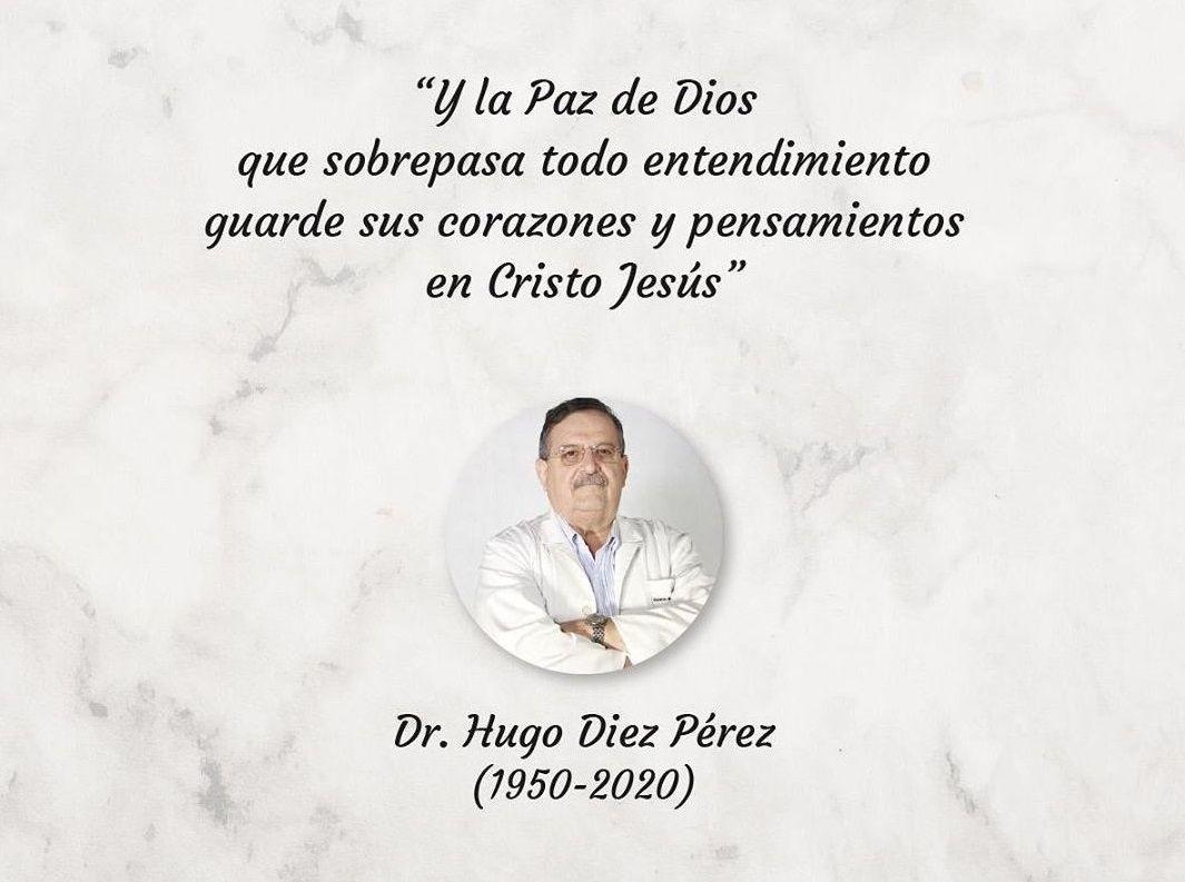 Publicación de reconocimiento del Centro Médico Bautista al doctor Hugo Diez Pérez.