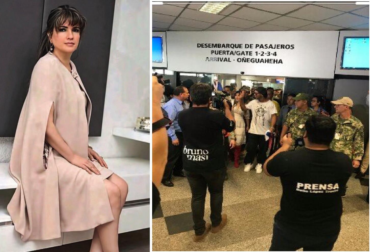 Dalia antes del escándalo y el día que recibió a Ronaldinho en el aeropuerto. Hasta ahora Dalia no aparece.