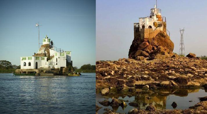 El Peñón antes de la sequía y después de que baje el agua. Ahora el castillo quedó seco