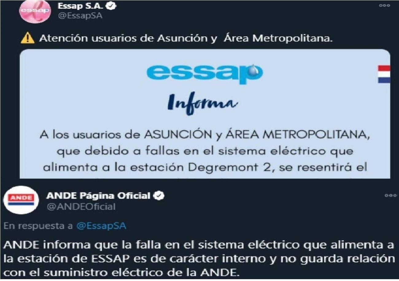 """Sin dar respuestas la ESSAP y la ANDE se """"culpan"""" por falta de agua y luz."""
