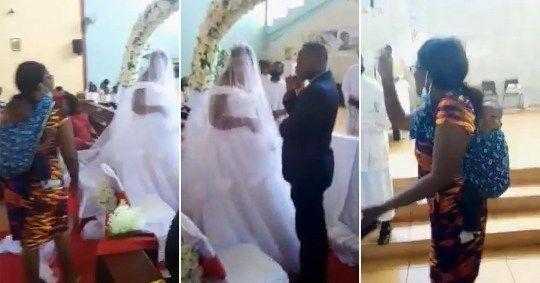 Momento en que el hombre es encontrado por su esposa en el altar (Captura de video).