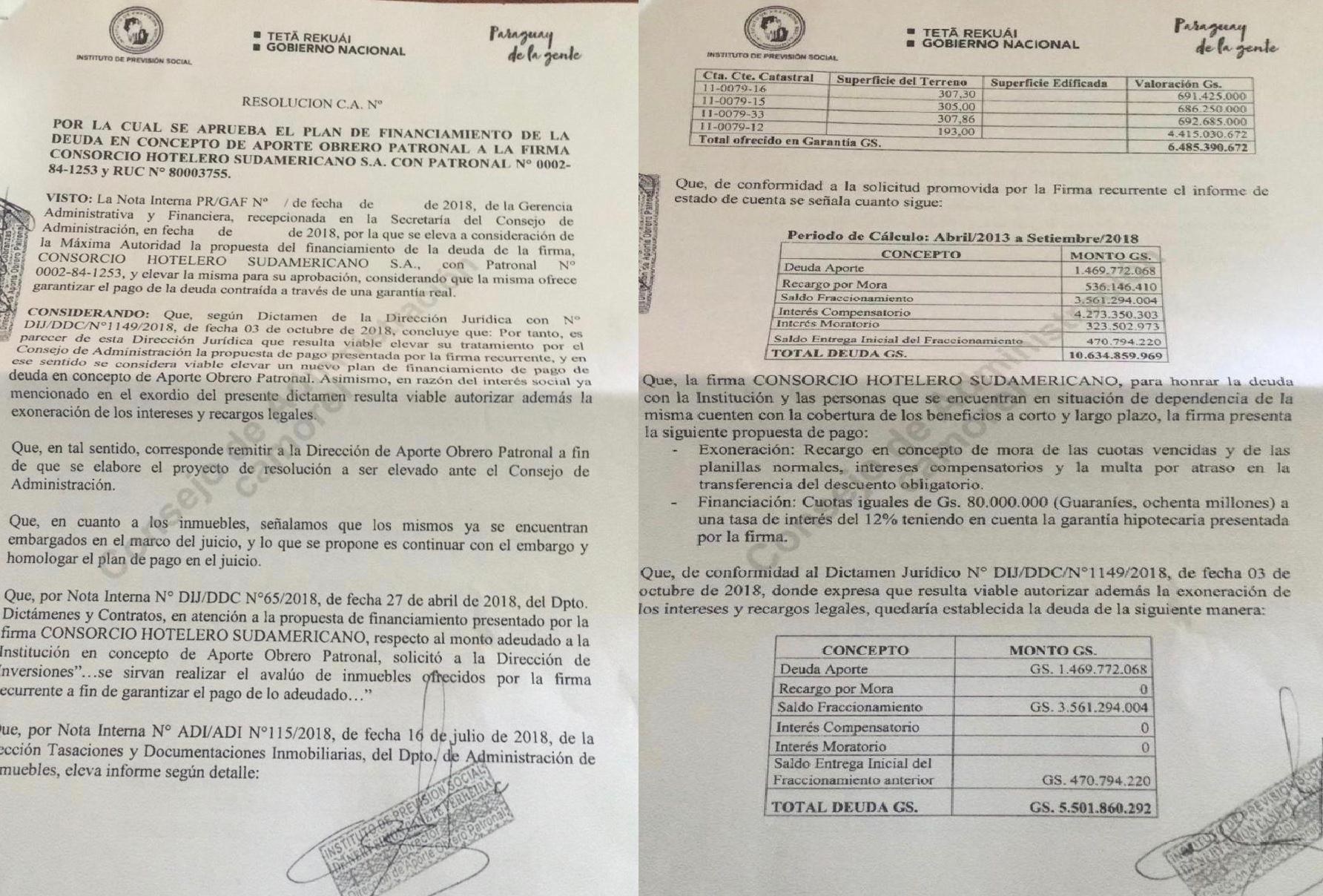 Documentos internos del IPS sobre la reconsideración de la deuda del Consorcio Hotelero y posterior aprobación del millonario descuento.