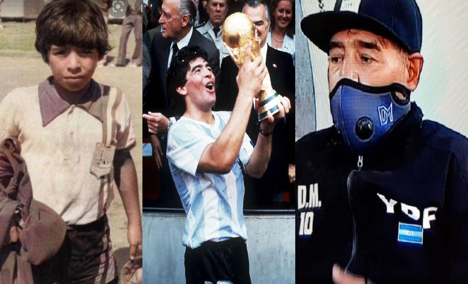 """Diego Maradona en tres momentos: de niño soñador, cuando """"tocó el cielo"""" en el 86 y la última parte de su vida como entrenador."""