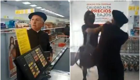 Epigrafe: En Colombia un sacerdote agredió a los clientes de una tienda que le pidieron que use tapabocas.