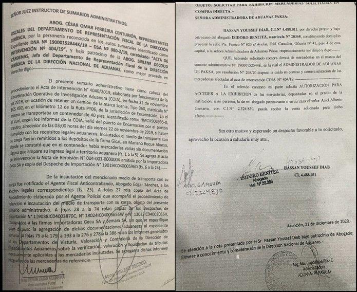 Documentos de los trámites del árabe Ahmed Chams en el intento de recuperar las mercaderías que le fueron incautadas, según su denuncia.