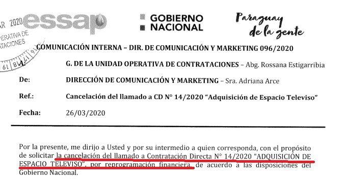 Documento interno de la Essap para anular la contratación directa, después del escándalo.