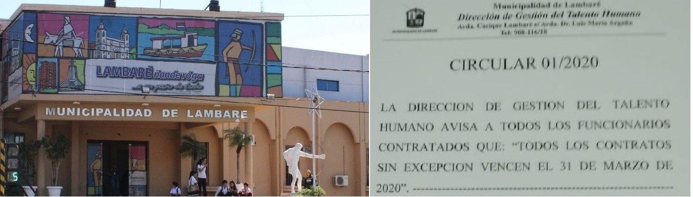 La Municipalidad de Lambaré dejó sin empleo a 500 personas a partir de hoy.